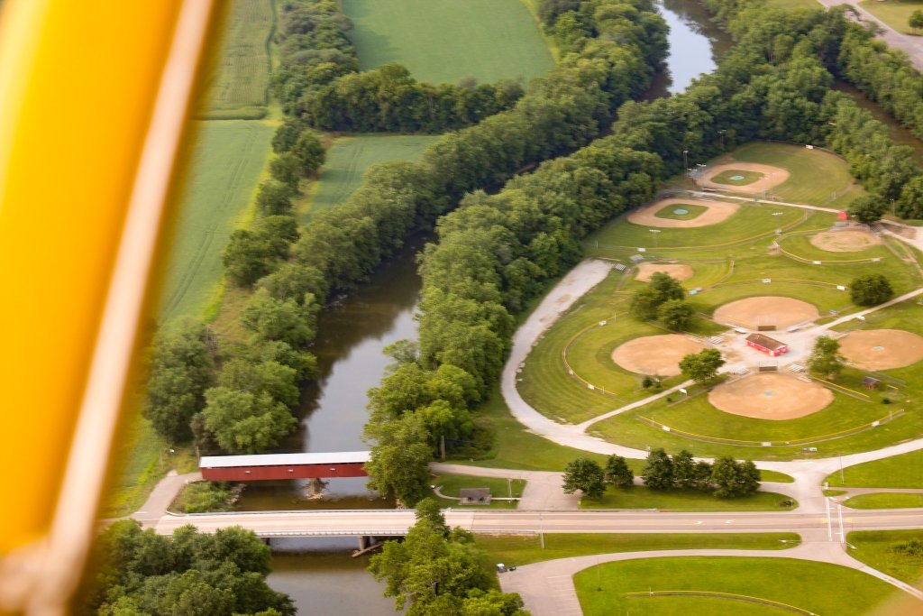 The Eldean Covered Bridge as seen flying over it in Sunny the Biplane.
