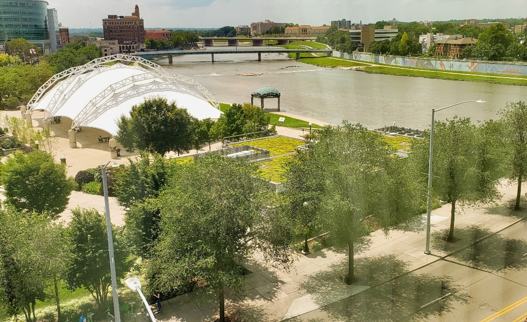 The view from a riverview room at the Fairfield Inn & Suites Downtown Dayton, Ohio.