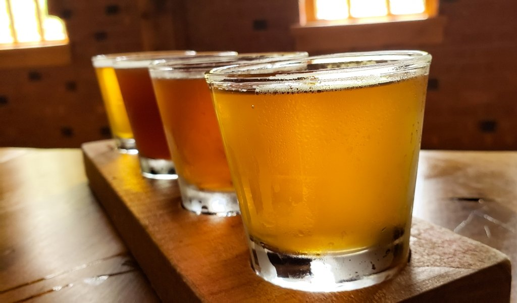 A flight of beer on a table with light streaming in through the window at the Carillon Brewing Company in Dayton.