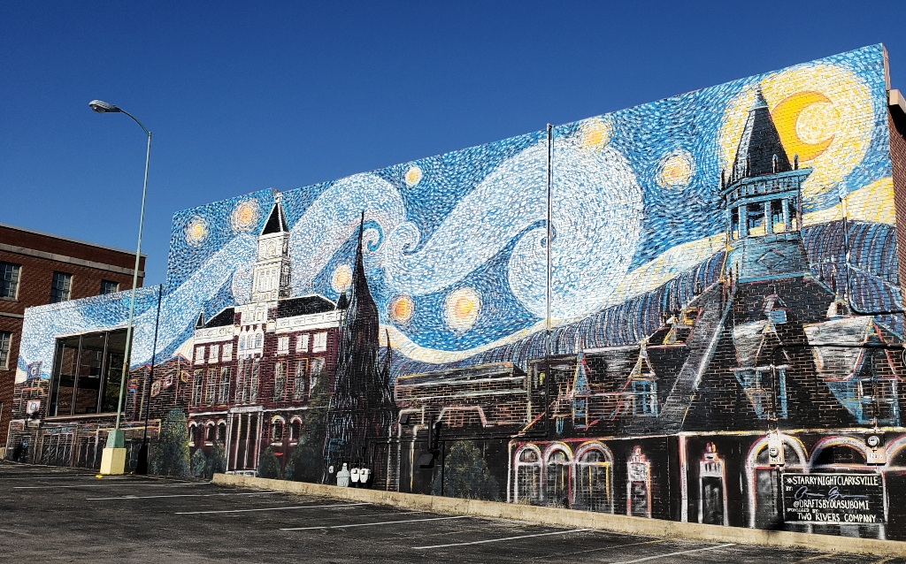 A mural adaptation of Vincent Van Gogh's Starry Night in Clarksville, TN
