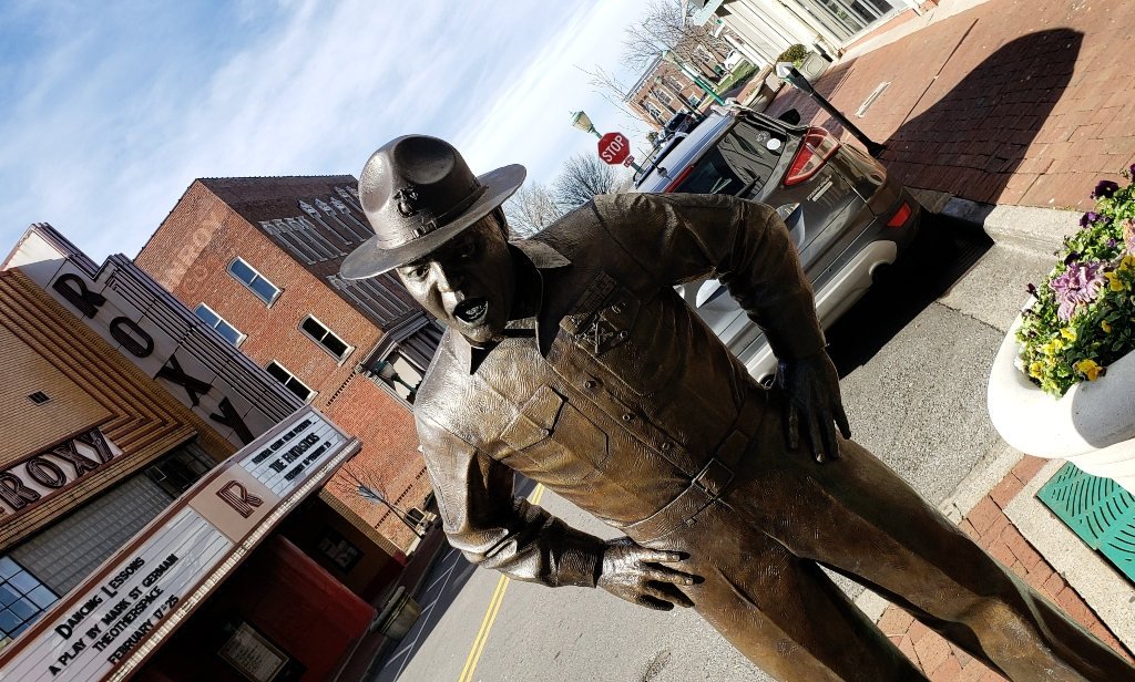 A bronze sculpture of Sgt. Vince Carter stands across from the Roxy Theater in Clarksville.
