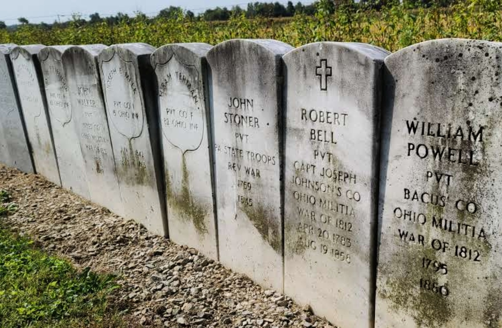 a row of old headstones