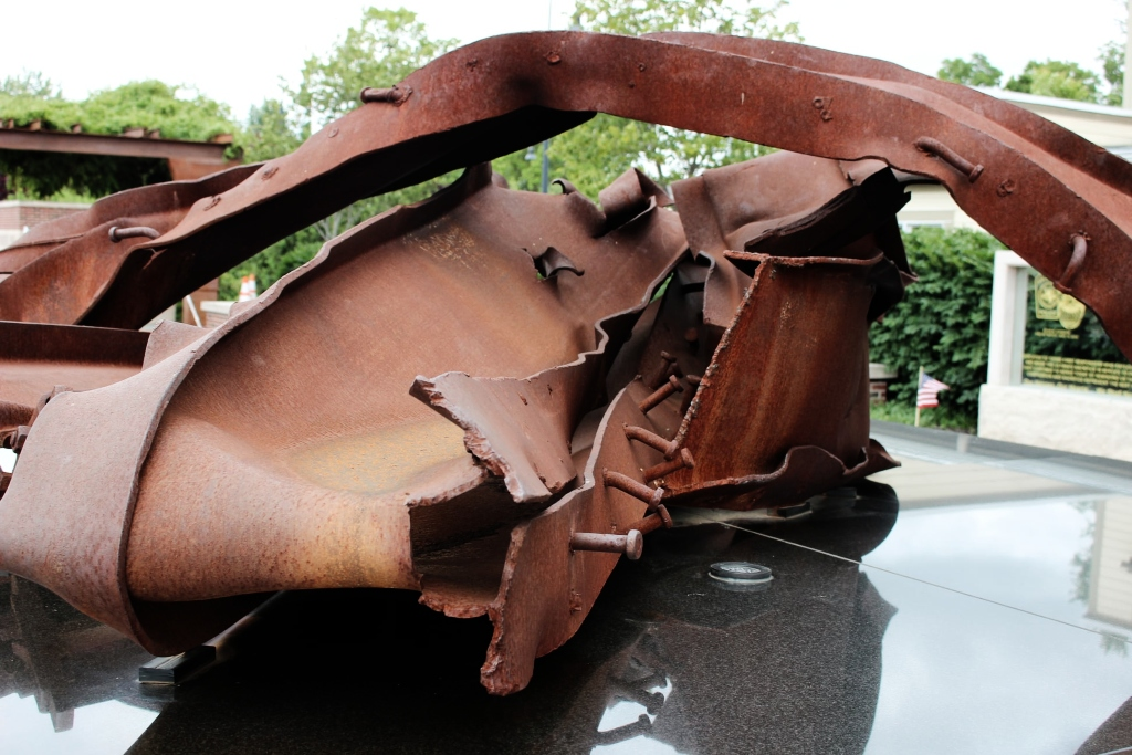 A twisted mass of metal salvaged from Ground Zero is on display in this 9/11 Memorial Park in Ohio.