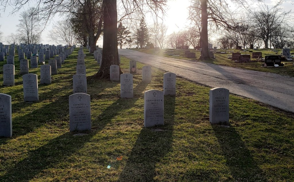 The sun shines down on white veterans tombstones in a cemetery.