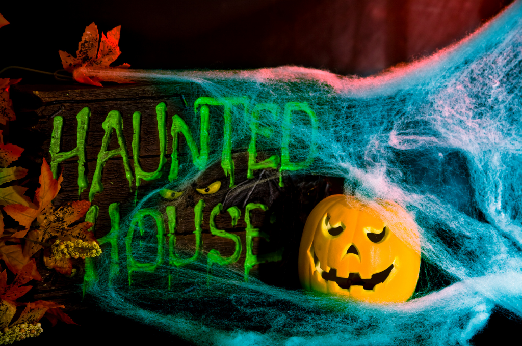 """Creepy image with a spider web, jack-o-lantern, fall leaves and the word """"Haunted House"""" in neon green."""