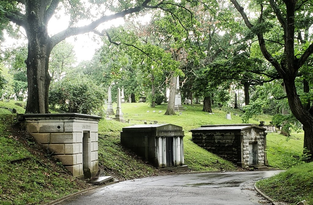 Three crypts situated together at a cemetery in Dayton